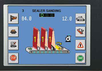 Экран электронного программатора LOGIC SC в автоматическом широколенточном калибровально-шлифовальном станке SCM (Италия), модель DMC SD